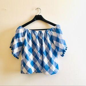 Plaid pom pom off the shoulder blouses